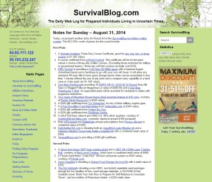 Screenshot of Survival Blog Homepage