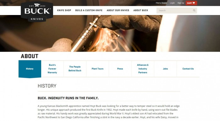 Buck Knives company site