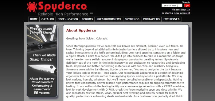Spyderco company website